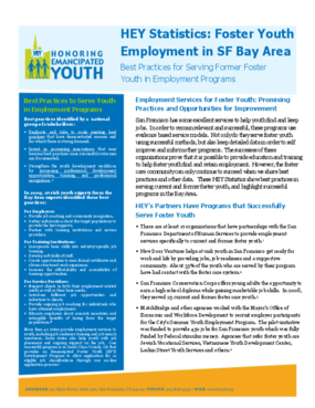 HEY Statistics: Foster Youth Employment in SF Bay Area