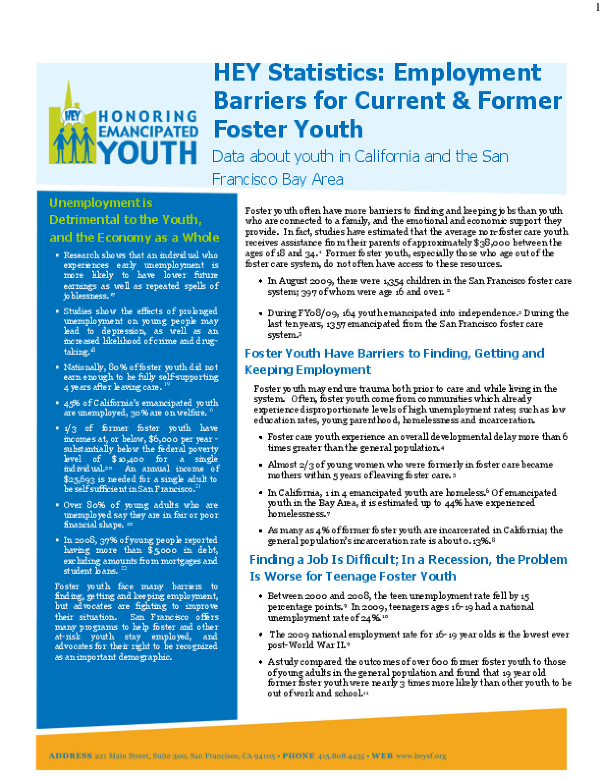HEY Statistics: Employment Barriers for Current & Former Foster Youth
