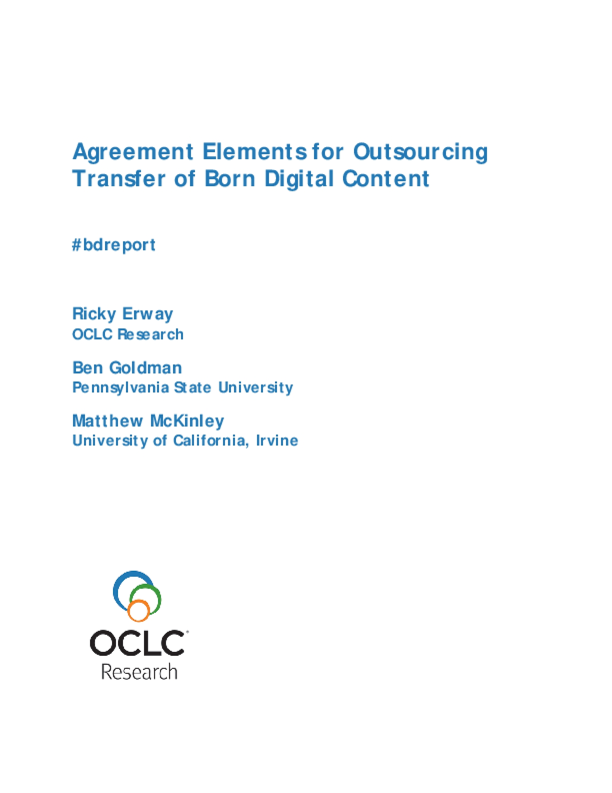 Agreement Elements for Outsourcing Transfer of Born Digital Content