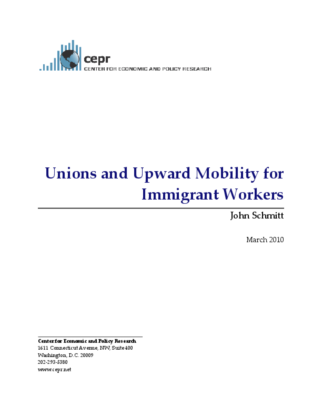 Unions and Upward Mobility for Immigrant Workers