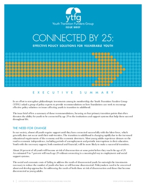 Connected by 25: Effective Policy Solutions for Vulnerable Youth Executive Summary