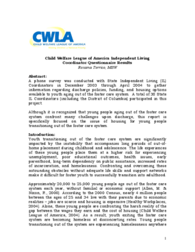 CWLA Independent Living Coordinator Questionnaire Results