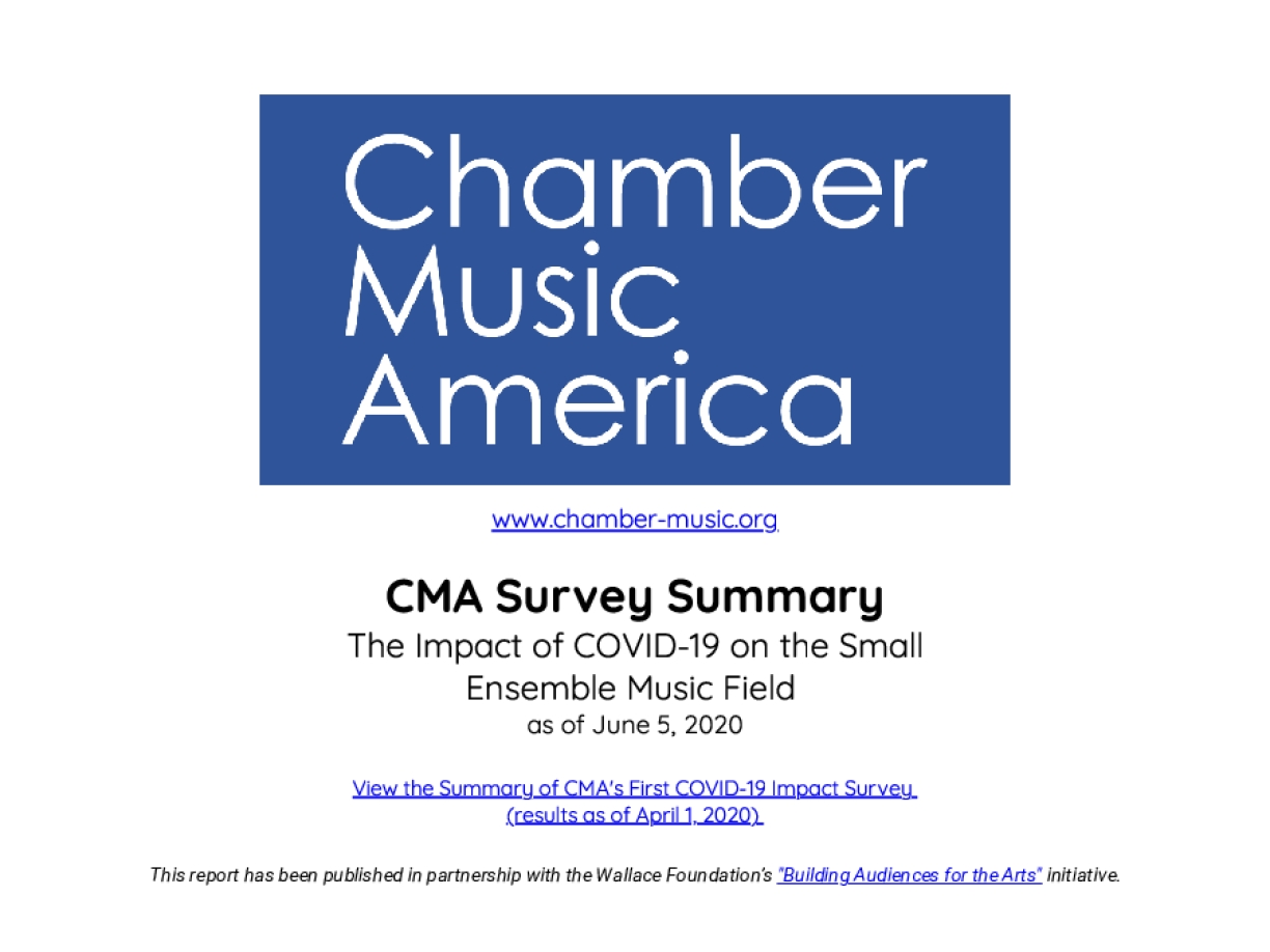 CMA Survey Summary: The Impact of COVID-19 on the Small Ensemble Music Field as of June 5, 2020