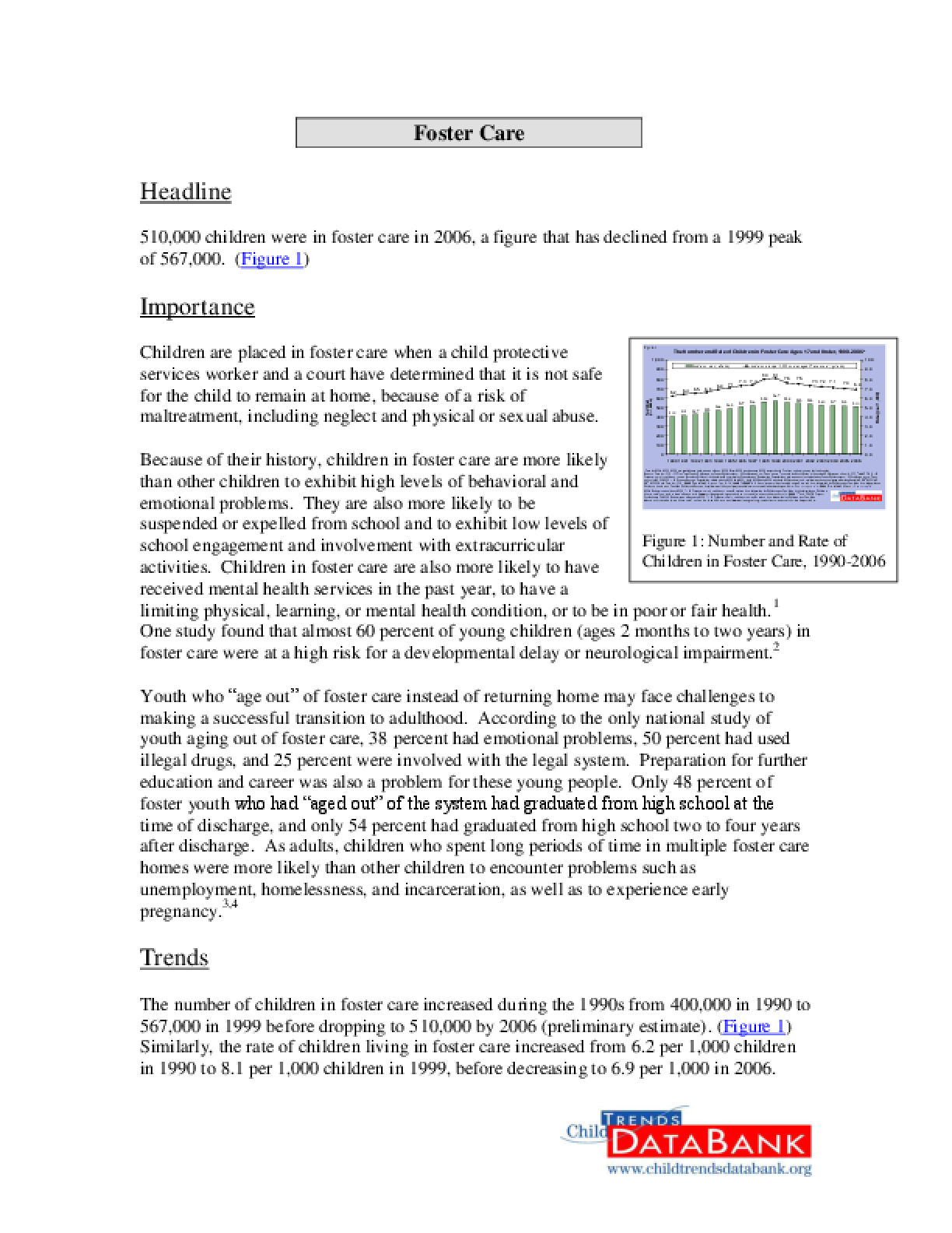 Child Trends Databank Indicator: Foster Care