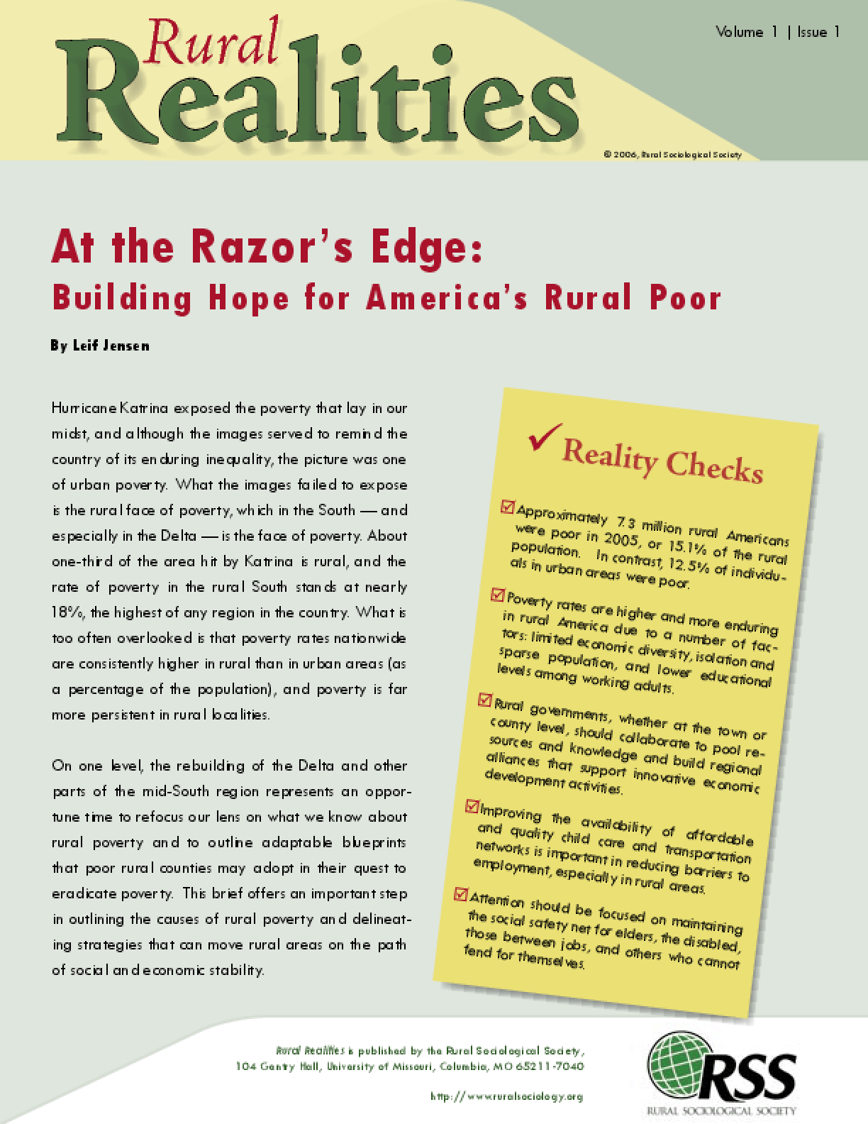 At the Razor's Edge: Building Hope for America's Rural Poor