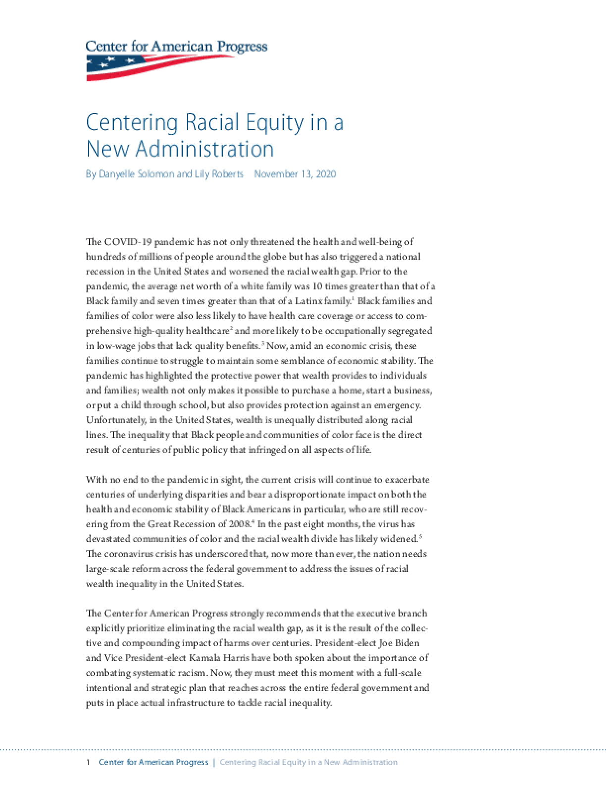 Centering Racial Equity in a New Administration