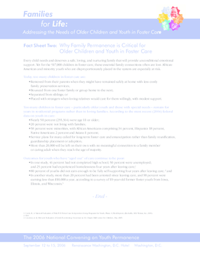 Fact Sheet Two: Why Family Permanence is Critical for Older Children and Youth in Foster Care