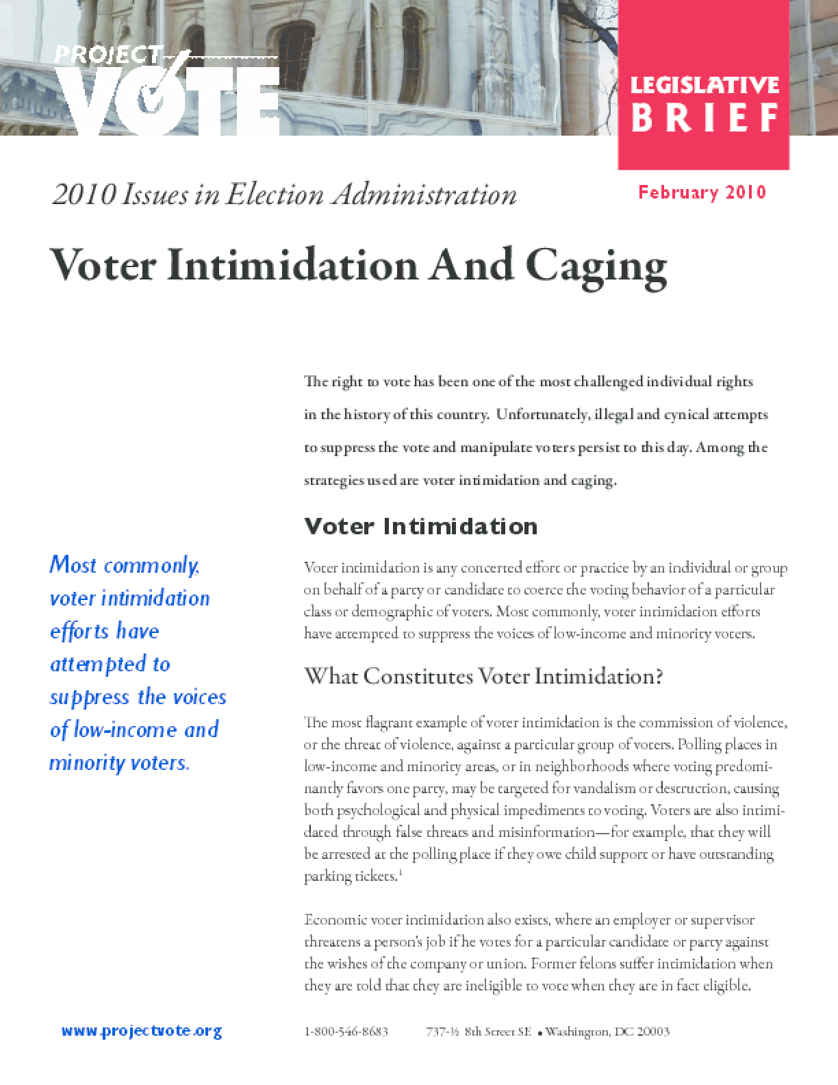 Voter Intimidation and Caging