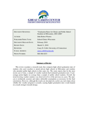 Review of Graduation Rates for Choice and Public School Students in Milwaukee 2003-2008