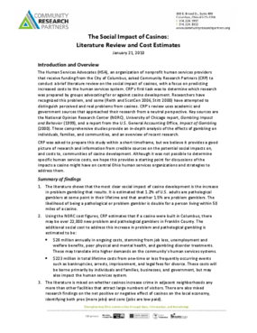 The Social Impact of Casinos: Literature Review and Cost Estimates
