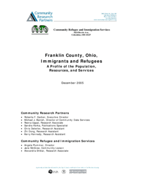 Franklin County, Ohio Immigrants and Refugees: A Profile of the Population, Resources and Services