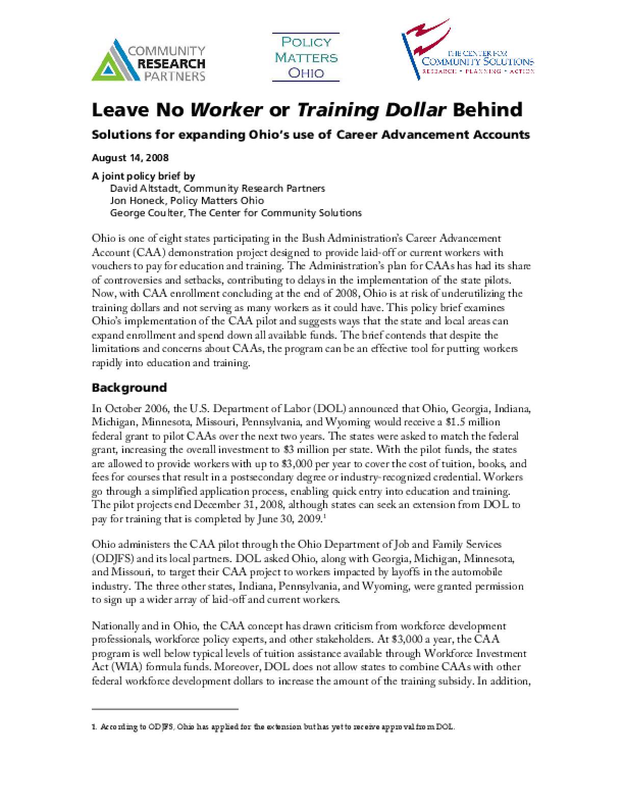 Leave No Worker or Training Dollar Behind