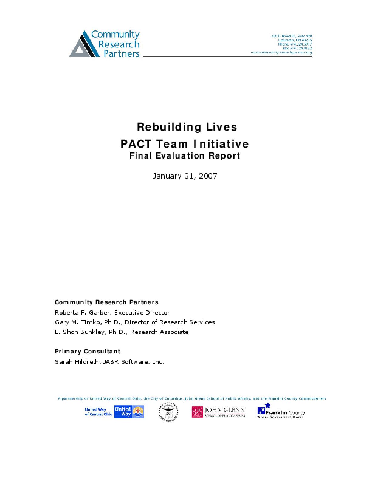 Rebuilding Lives PACT Team Initiative Evaluation