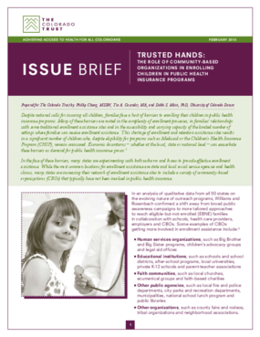 Trusted Hands: The Role of Community-Based Organizations in Enrolling Children in Public Health Insurance Programs
