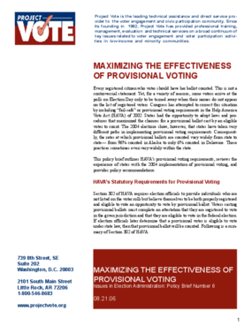 Maximizing the Effectiveness of Provisional Voting