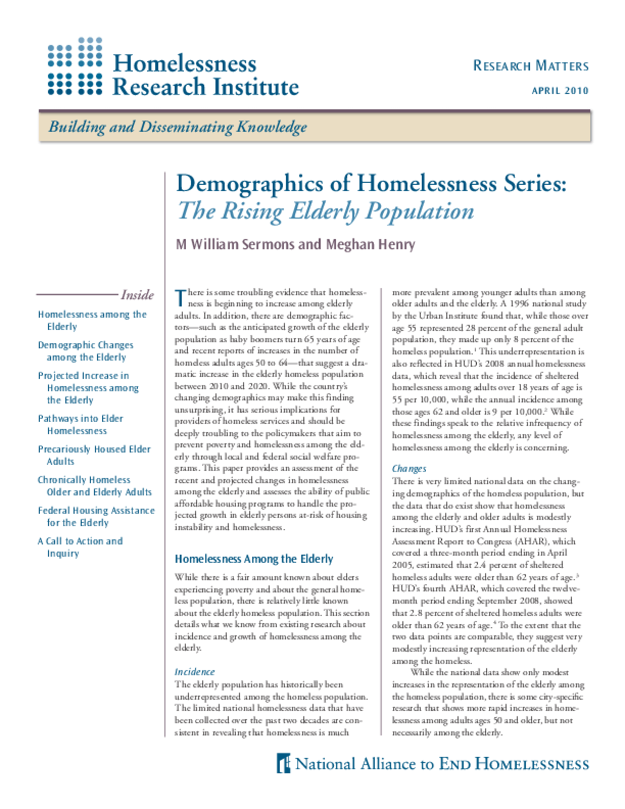 Demographics of Homelessness Series: The Rising Elderly Population