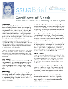 Certificate of Need: Within the Broader Context of Health