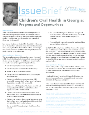 Children's Oral Health in Georgia: Progress and Opportunities