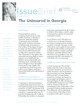 The Uninsured in Georgia - 2008