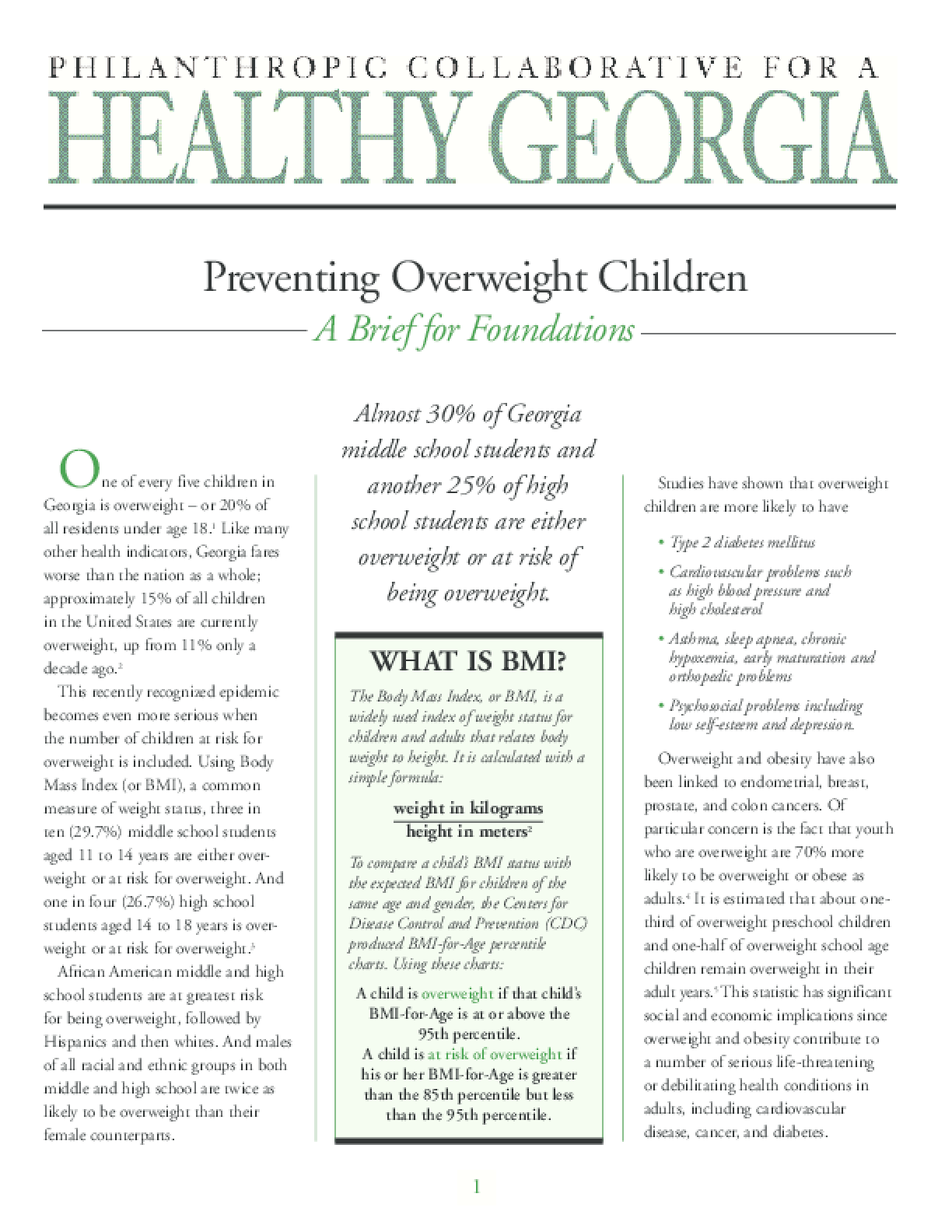 Preventing Overweight Children - A Brief for Foundations