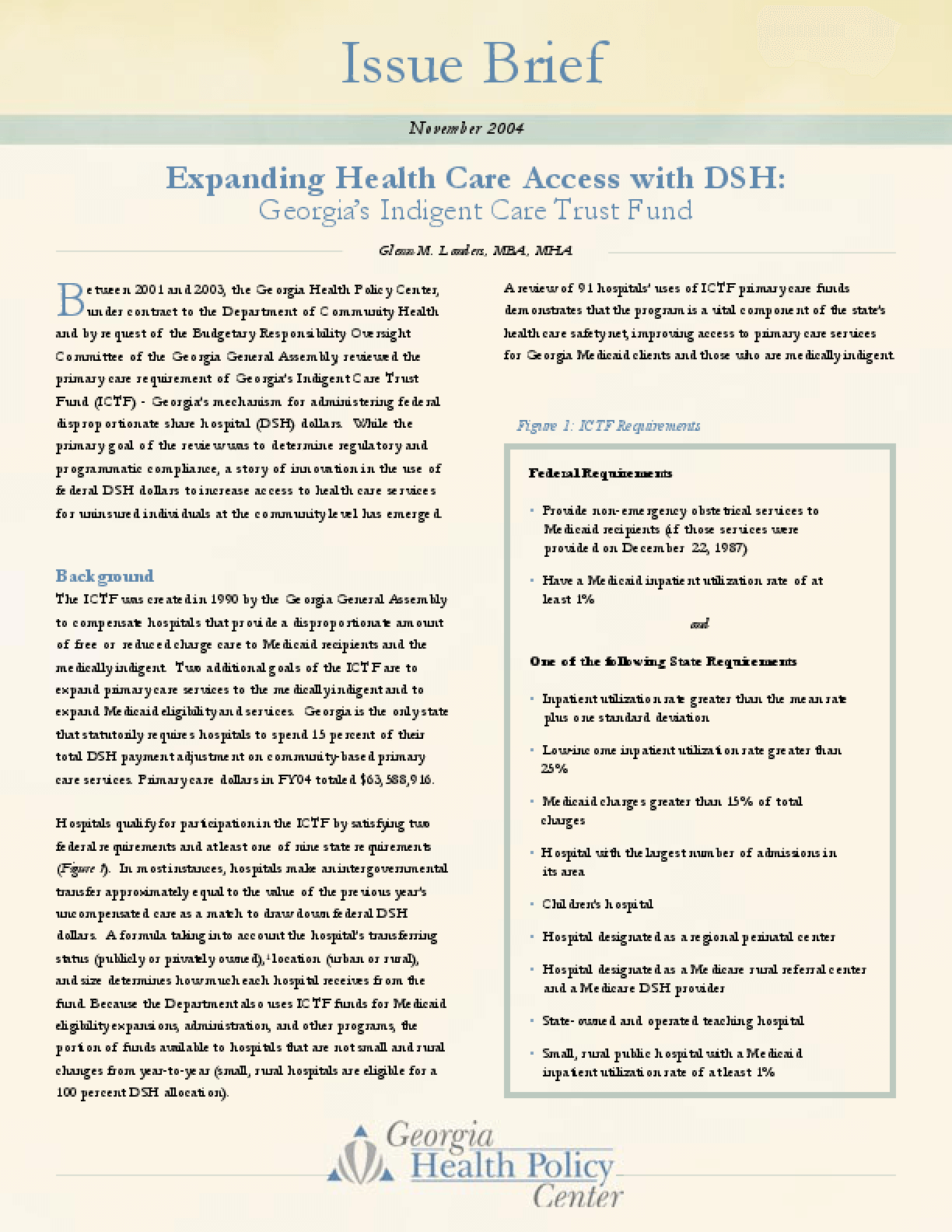 Expanding Health Care Access with DSH: Georgia's Indigent Care Trust Fund