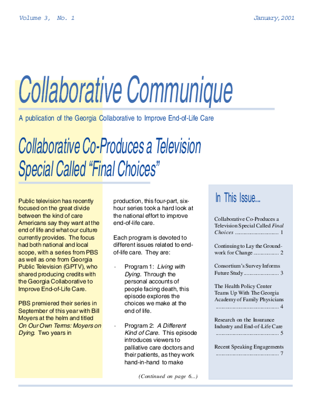 Collaborative Communique: A publication of the Georgia Collaborative to Improve End-of-Life Care