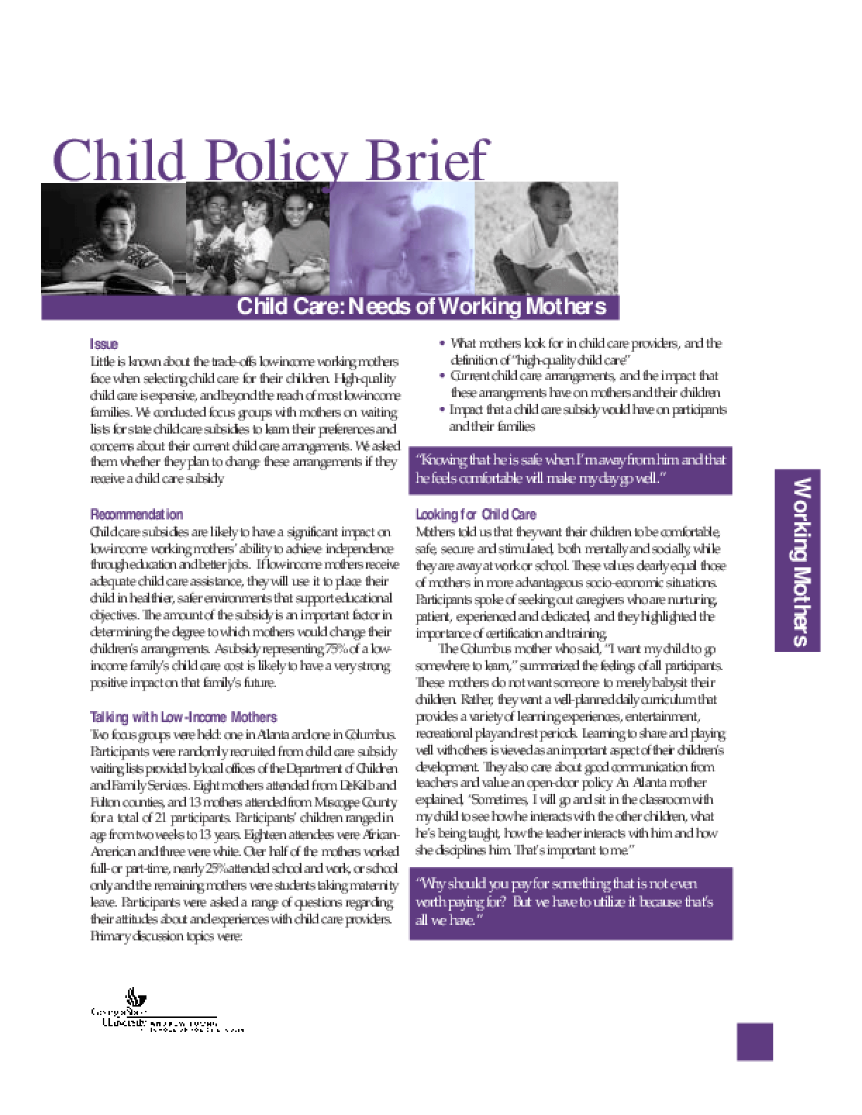 Child Care: Needs of Working Mothers
