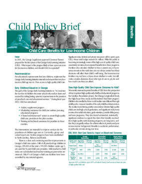 Child Care: Benefits for Low Income Children