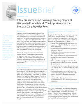 Influenza Vaccination Coverage among Pregnant Women in Rhode Island: The Importance of the Prenatal Care Provider Role