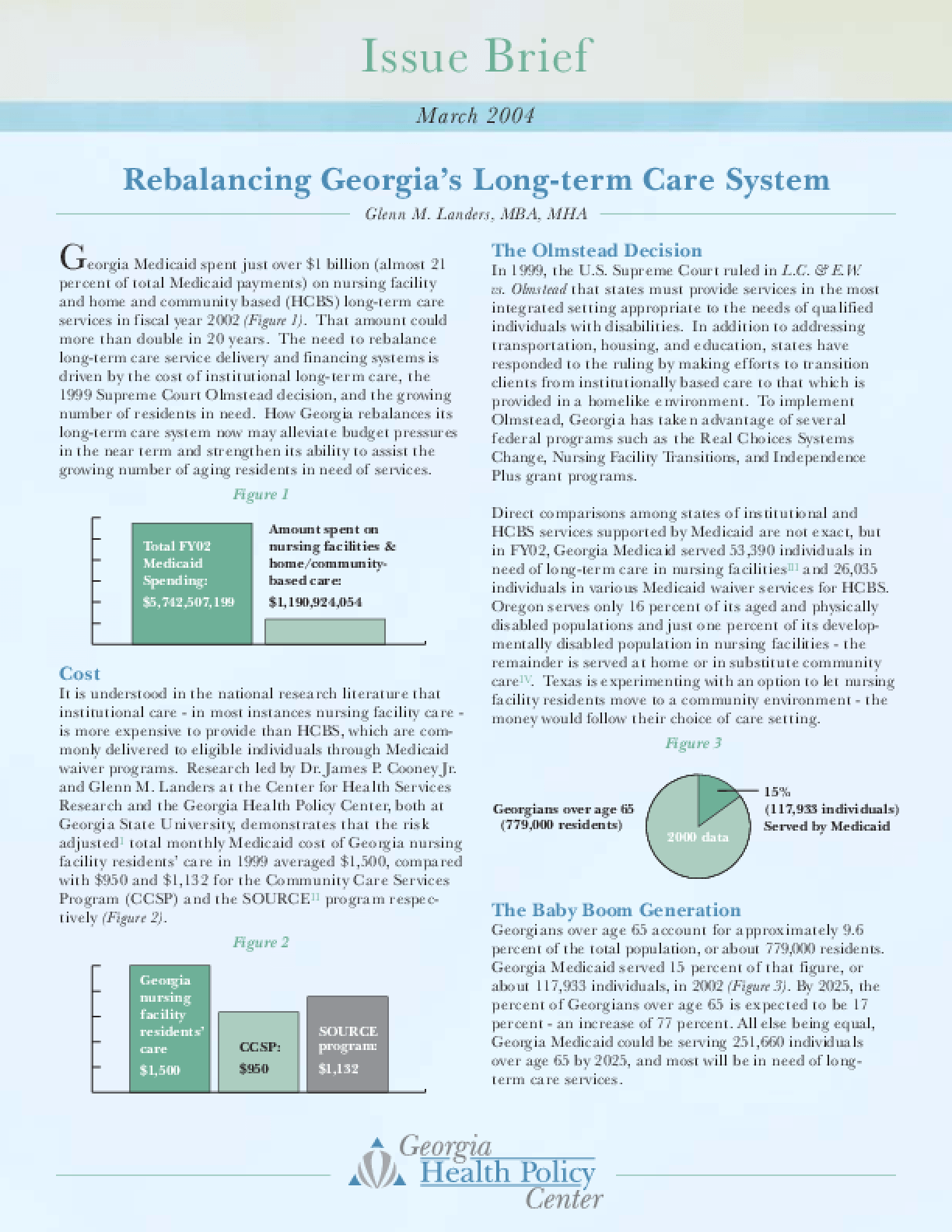 Rebalancing Georgia's Long Term Care System