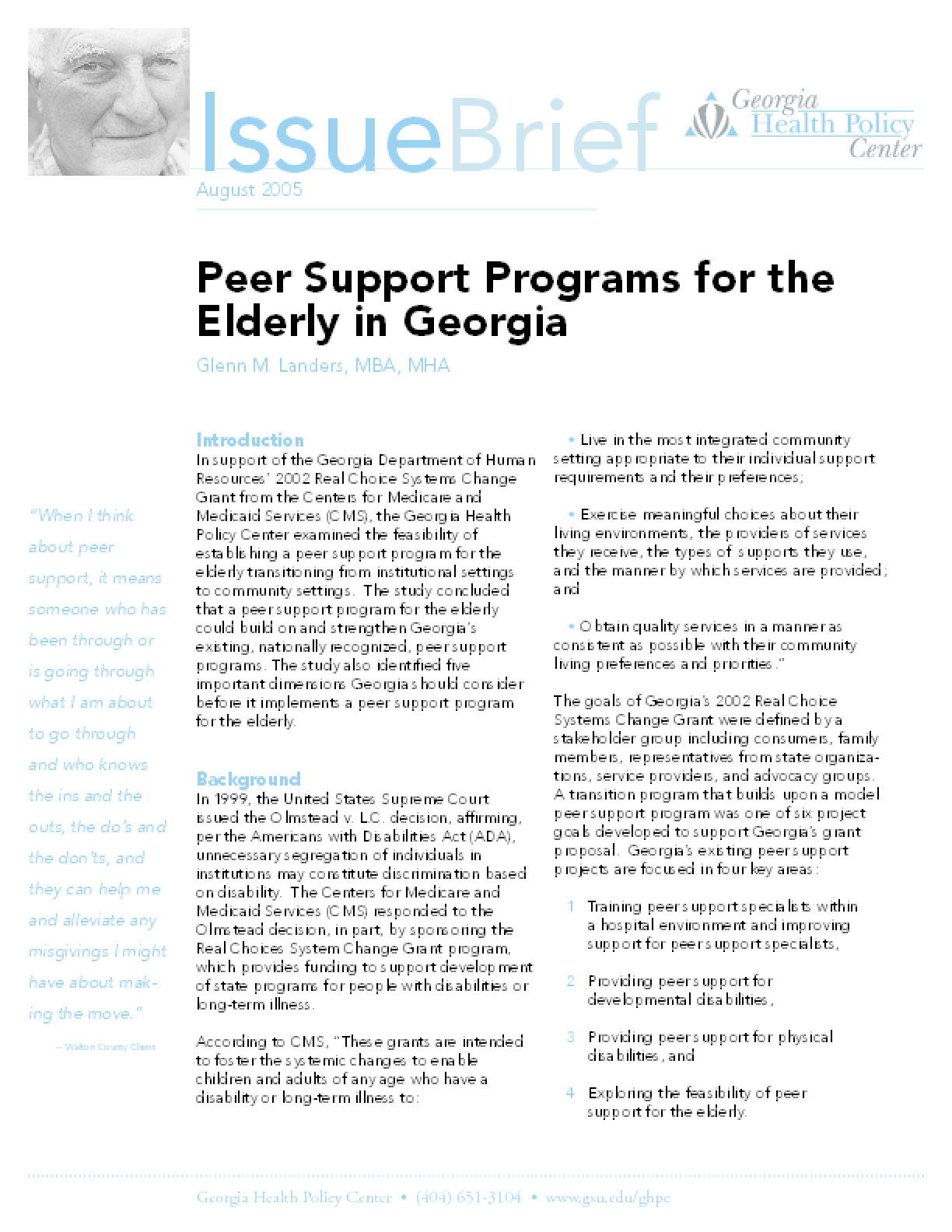 Peer Support Programs for the Elderly in Georgia