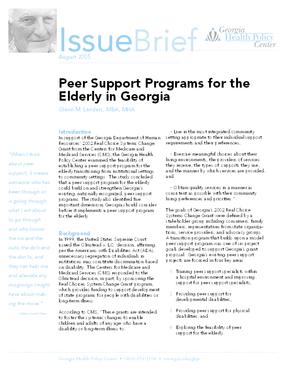 Peer Support Programs for the Elderly in Georgia
