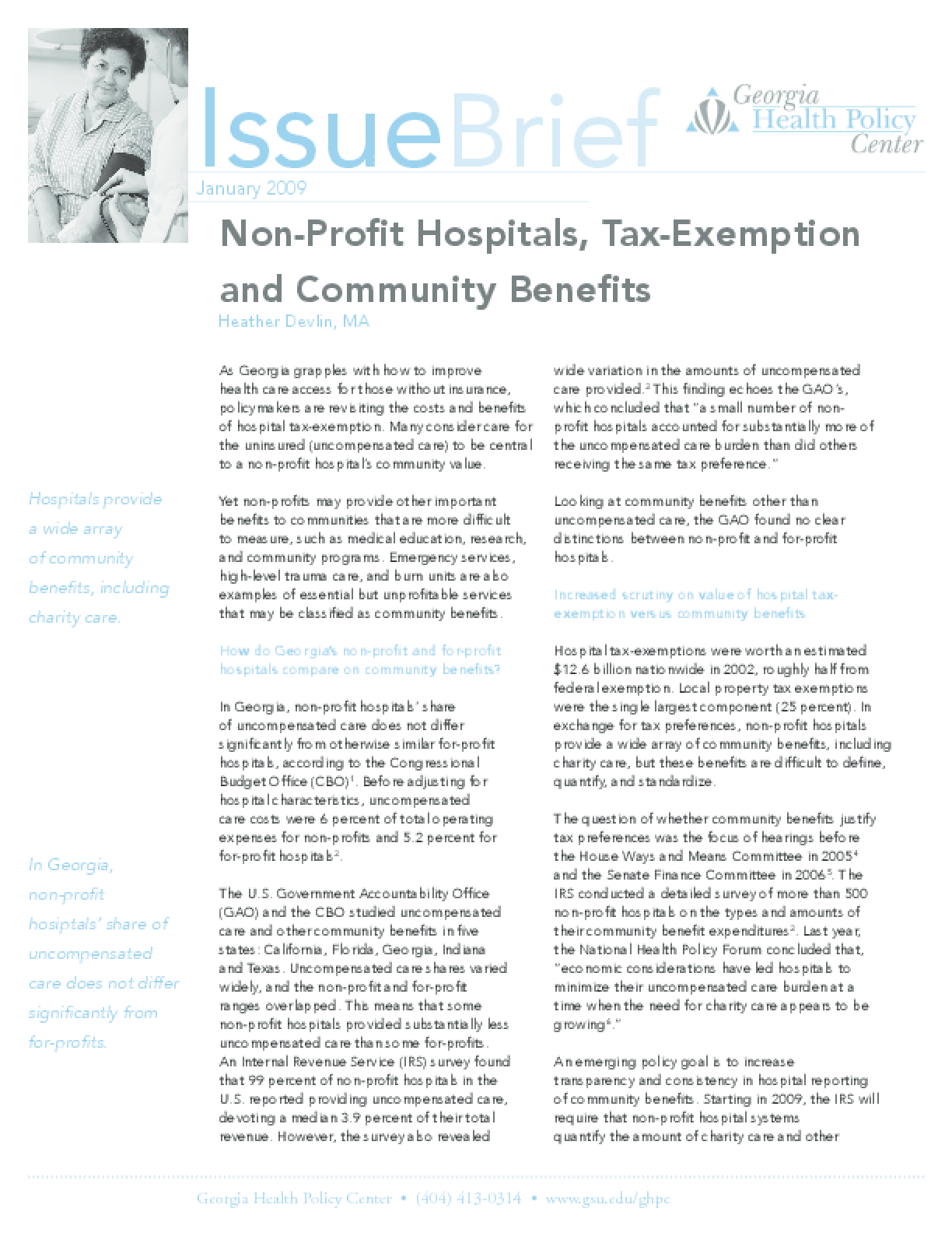 Non-Profit Hospitals, Tax Exemption, and Community Benefits