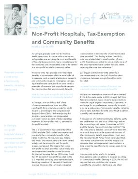 Non-Profit Hospitals, Tax Exemption, and Community Benefits