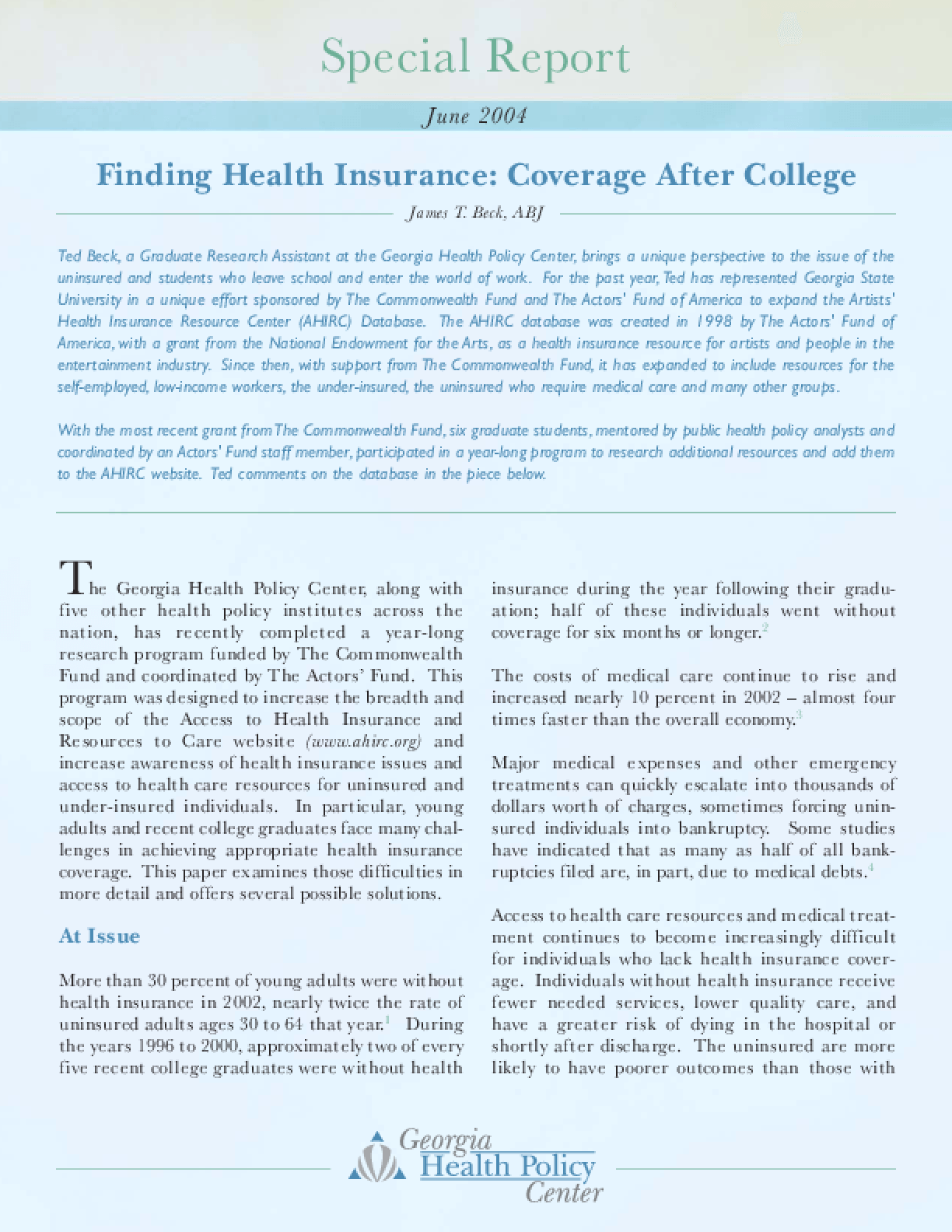 Finding Health Insurance: Coverage After College