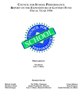 Council for School Performance: Report on the Expenditure of Lottery Funds Fiscal Year 1996