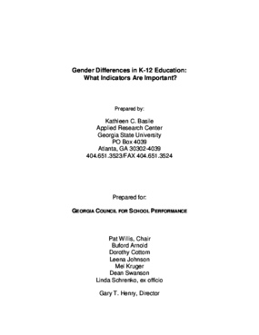 Gender Differences in K-12 Education: What Indicators Are Important?