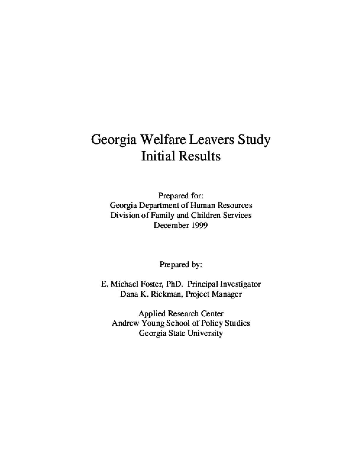 Georgia Welfare Leavers Study - Initial Results