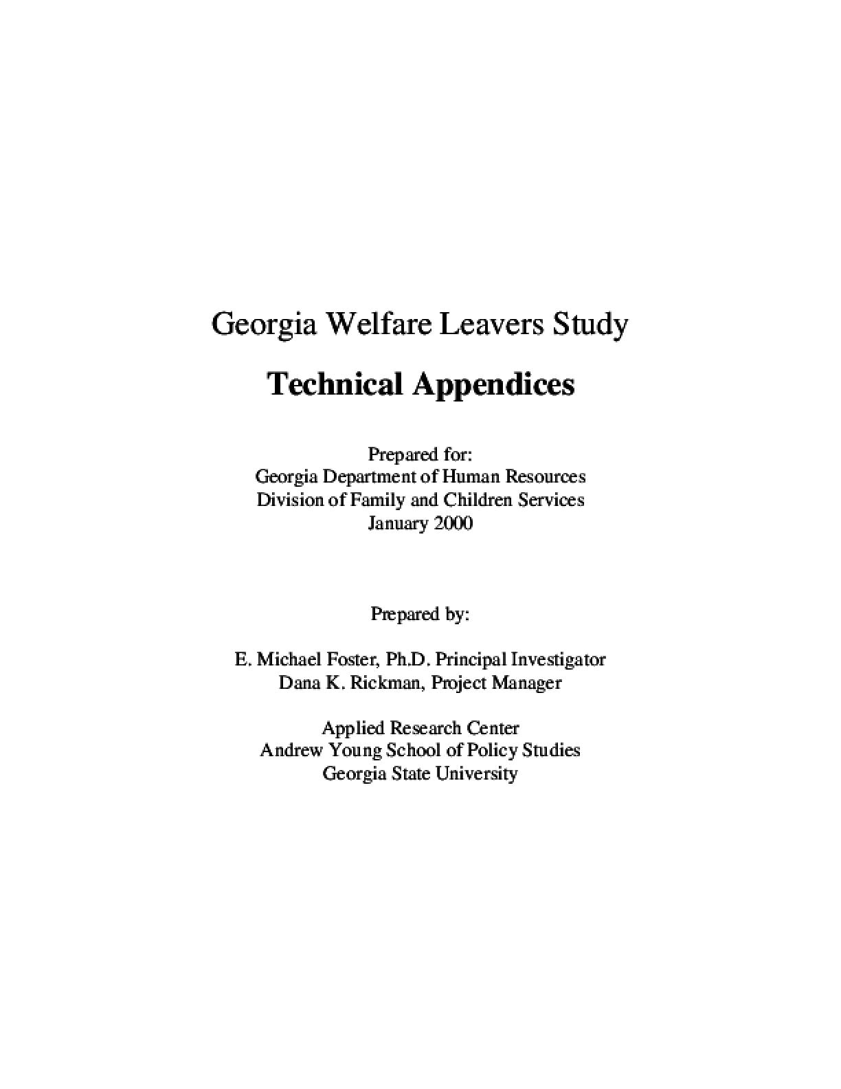 Georgia Welfare Leavers Study - Technical Appendices