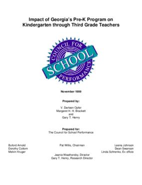 Impact of Georgia's Pre-K Program on Kindergarten through Third Grade Teachers