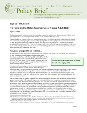 To Have and to Hold: An Analysis of Young Adult Debt