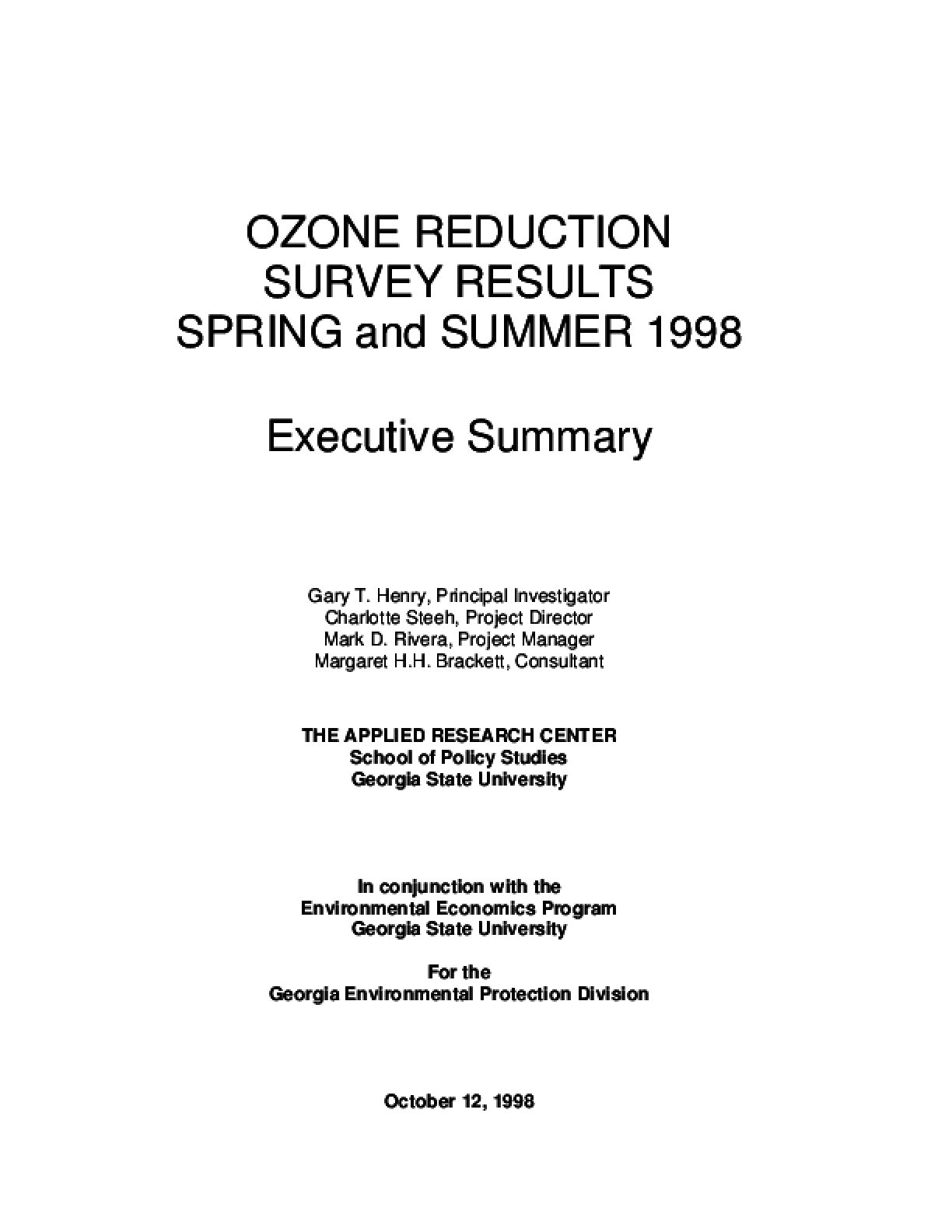 Ozone Reduction Survey Results: The Spring & Summer 98 Executive Summary