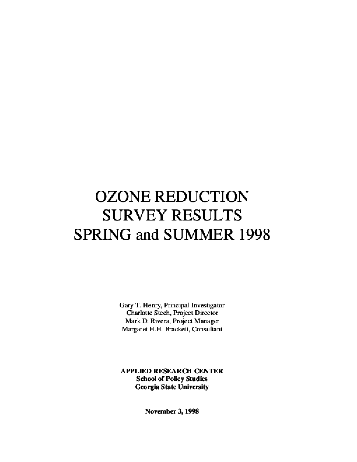 Ozone Reduction Survey Results: The Spring & Summer 98 Report