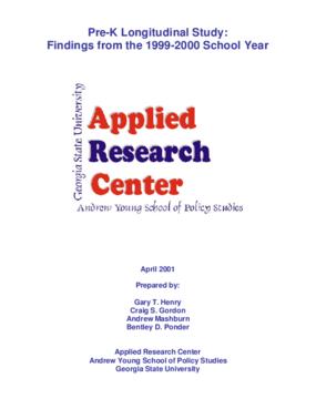 Pre-Kindergarten Longitudinal Study 1999-00 School Year - Report 4