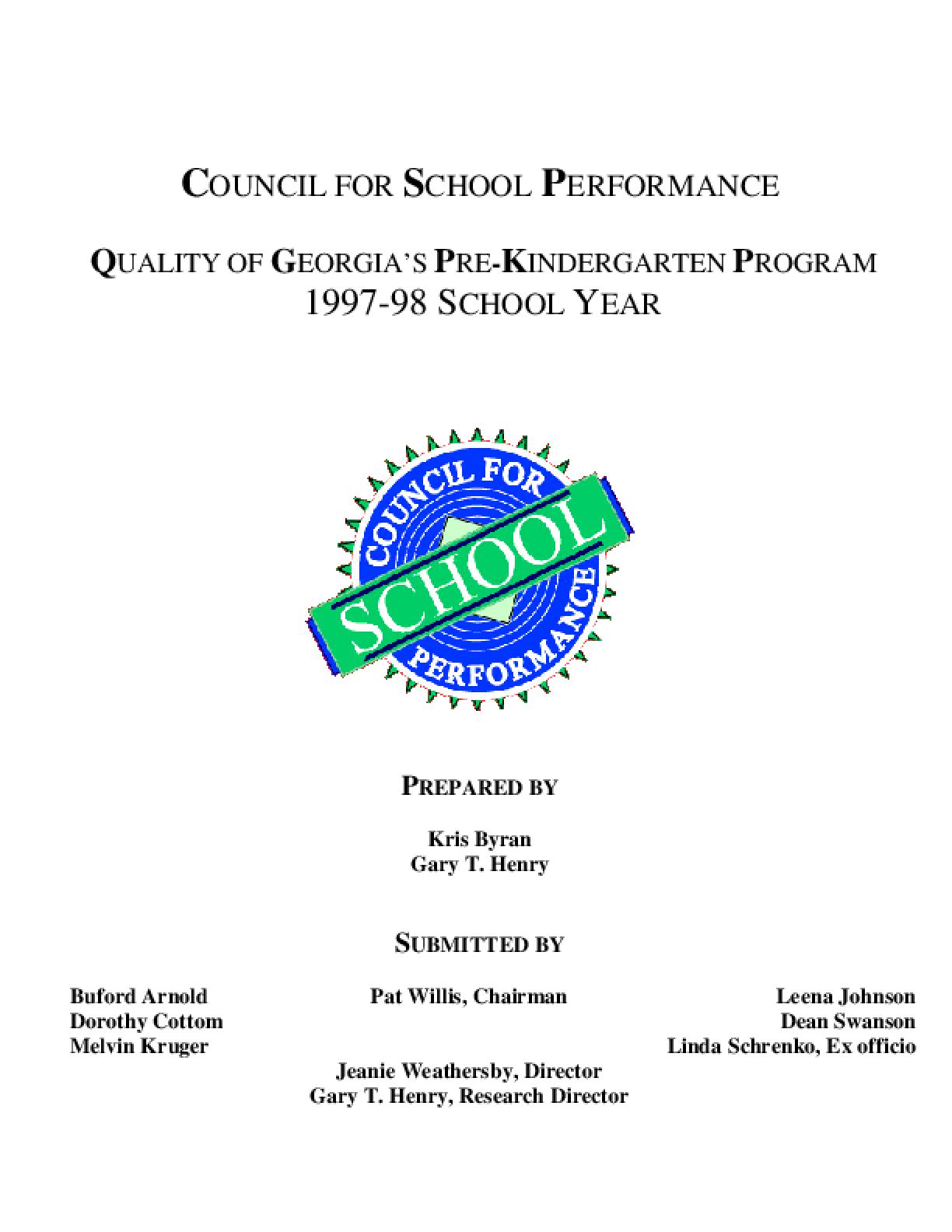 Quality of Georgia's Pre-Kindergarten Program, 1997-98 School Year