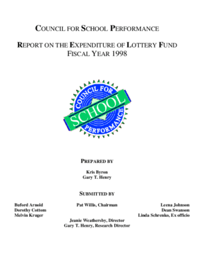 Report on the Expenditure of Lottery Funds Fiscal Year 1998