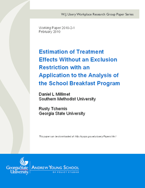 Estimation of Treatment Effects Without an Exclusion Restriction with an Application to the Analysis of the School Breakfast Program