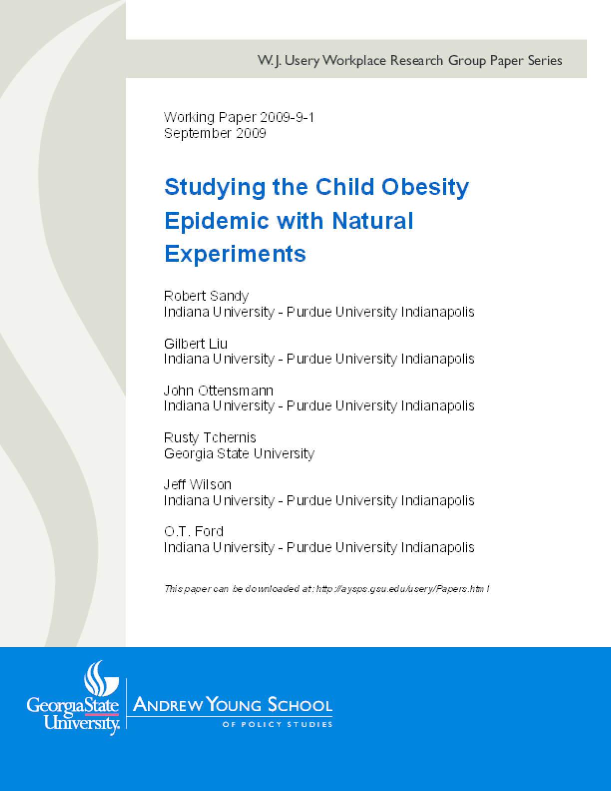 Studying the Child Obesity Epidemic with Natural Experiments