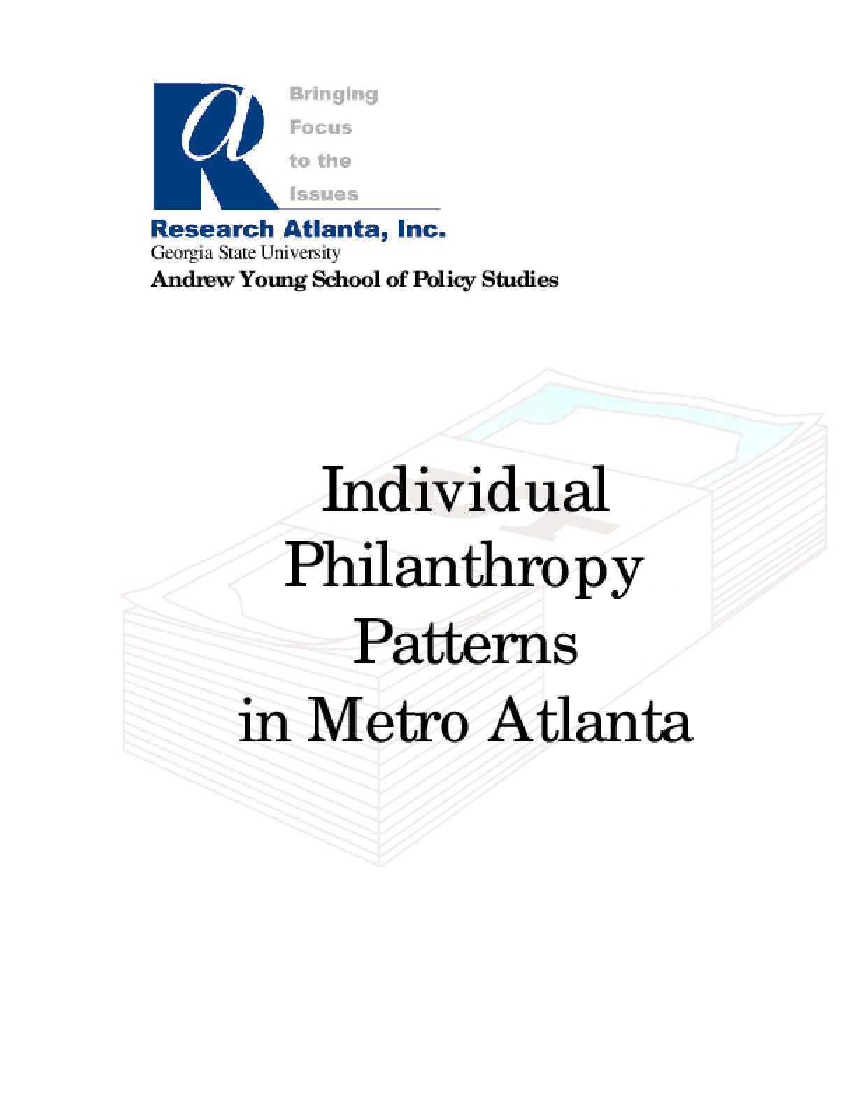 Individual Philanthropy Patterns in Metro Atlanta
