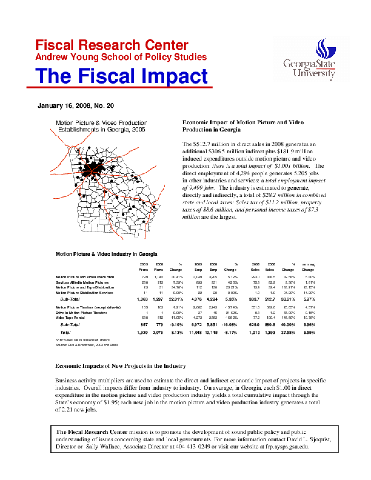 Economic Impact of Motion Picture and Video Production in Georgia